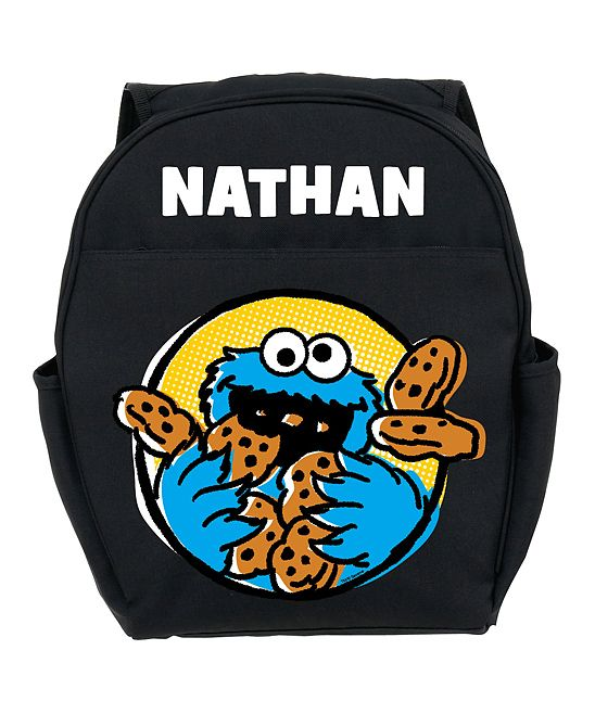Black Sesame Street Cookie Monster Personalized Backpack