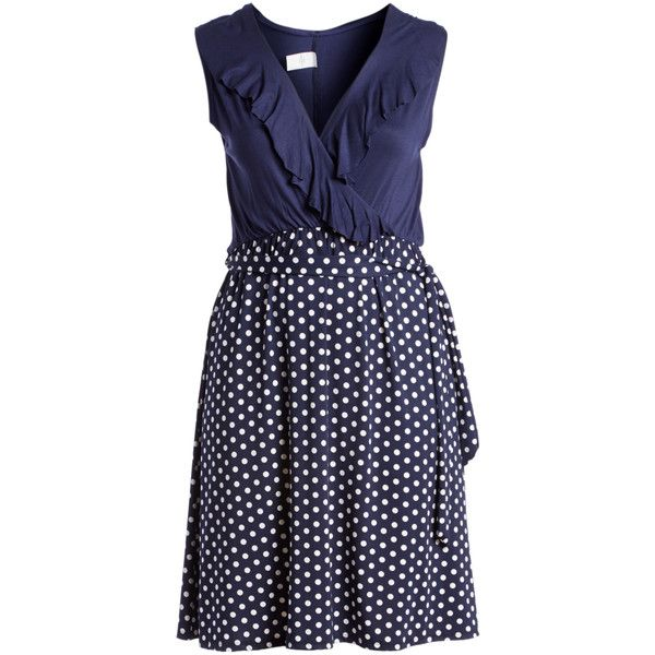 GLAM Blue & White Polka Dot Ruffle Surplice Dress (40 CAD) ❤ liked on Polyvore featuring plus size women's fashion, plus size clothing, plus size dresses, plus size, surplice dress, blue and white polka dot dress, long dresses, plus size ruffle dress and flutter-sleeve dresses