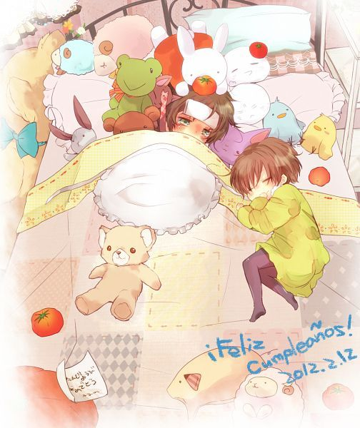 Hetalia Spain and Chibi!Romano  Aww! Romano's trying to help Spain get better!