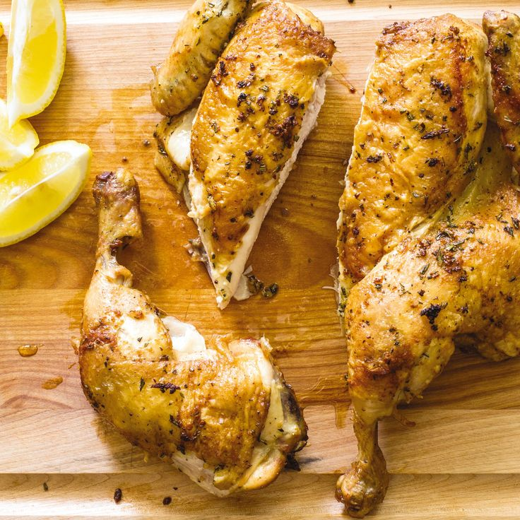 A butterflied chicken cooks considerably quicker than a traditional whole bird. Flattening the chicken also encourages crisp skin, since most of the skin is in contact with the hot pan.