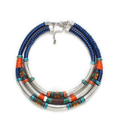 TRIPLE COMBINATION NECKLACE IN METAL AND TRIBAL STYLE FABRIC #zara