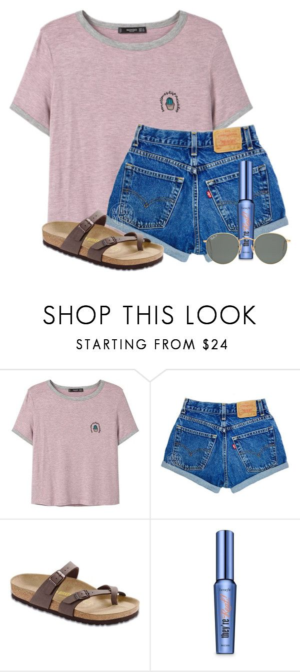 """""""Bored!!!!!!!"""" by victoriaann34 ❤ liked on Polyvore featuring MANGO, Birkenstock, Benefit and Ray-Ban"""