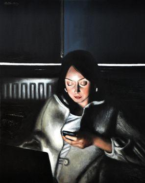 "Saatchi Art Artist Matthew Hickey; Painting, ""Screen time: Sarah"" #art"
