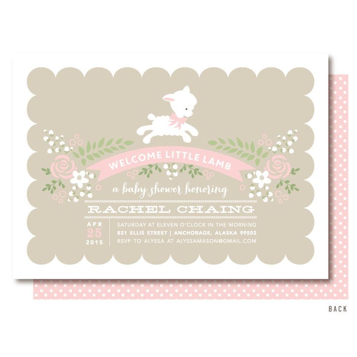 lamb baby shower invitations pink little lamb invitation printed or