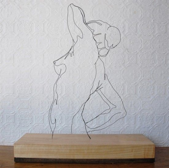 wire sculpture, but would be a neat line drawing on a wall