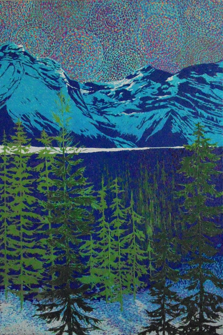 """Lake Abraham Winter"" by Artist Rhonda Lund 24 x 36"" Acrylic on Canvas; Staple back 2014 'a fresh, sunny winter afternoon in the foothills in the Rockies"