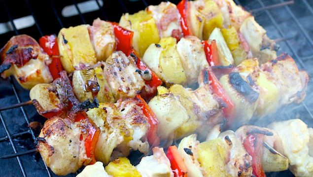 Bacon is woven between juicy pieces of pineapple, chicken and veggies. The kebabs are grilled to perfection and slathered with sweet Hawaiian sauce.