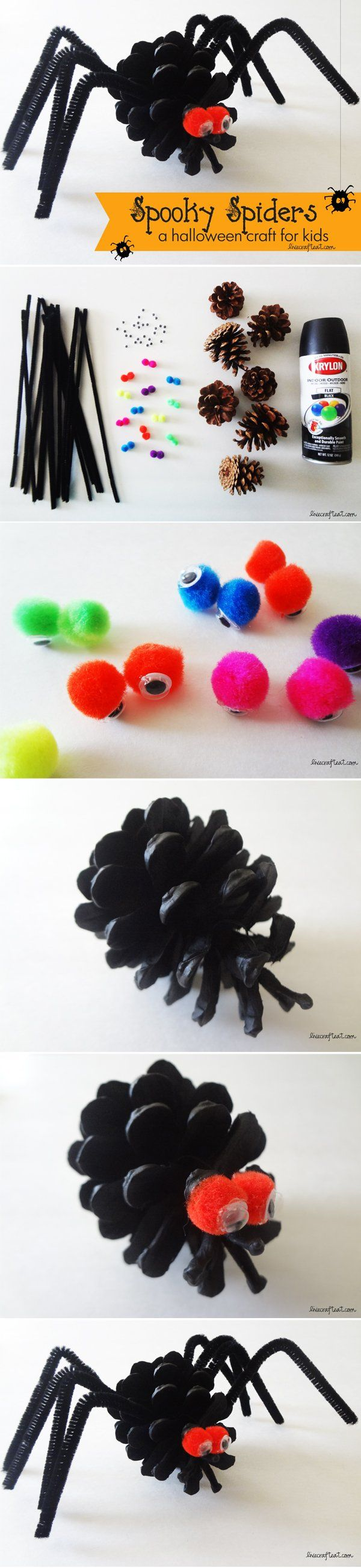 an easy halloween spider craft for kids - uses only a few inexpensive craft supplies that you probably already have on hand. so cute for decorating your house/front door! | www.livecrafteat.com   #halloween #crafts