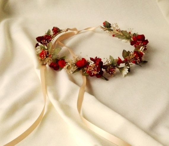Hey, I found this really awesome Etsy listing at https://www.etsy.com/listing/168351450/holiday-weddings-bridal-floral-crown-red