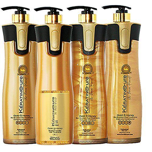 Keratin Cure Professional Brazilian Hair Treatment 4 Piece Kit V2 LGEL Gold and Honey Hair Straightening Repair and Shine 960 Ml /32.5 Fl Oz - Tratamiento Brasilera De Keratina Alisado ** Want to know more, click on the image. #hairideas