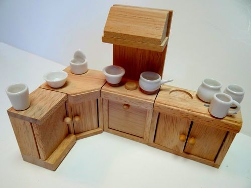 Lot vintage doll house kitchen set compatible w maple for Doll kitchen set