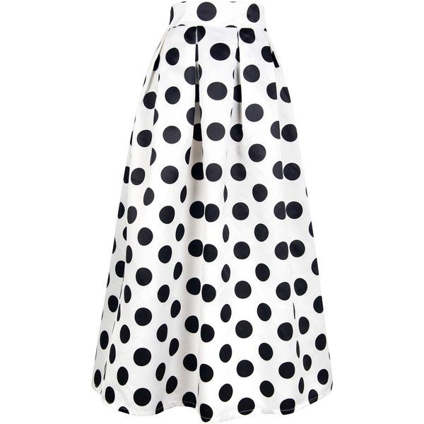 White Polka Dot Print Maxi Skirt (€41) ❤ liked on Polyvore featuring skirts, saia, stretchy skirts, long white skirt, long skirts, long stretchy skirts and ankle length skirts