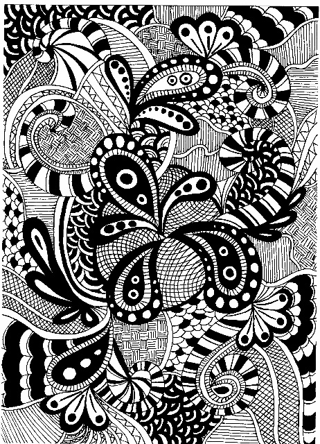 Paisleys, swirls and half-flowers, separated by patterns