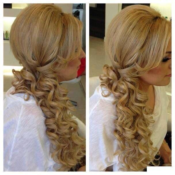 side ponytail curls hair