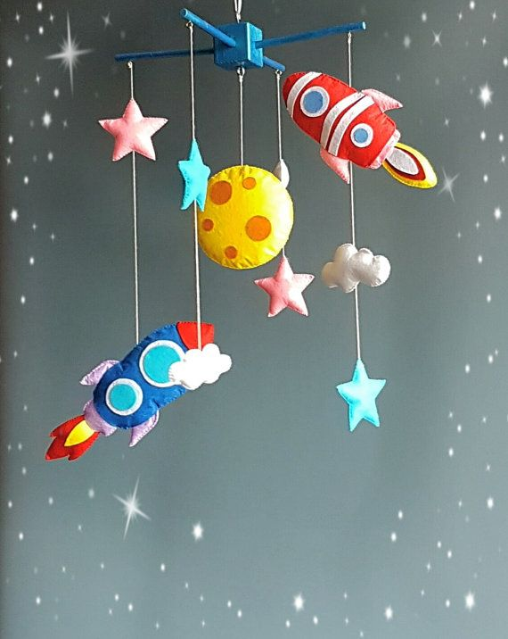 Baby mobile Moon rocket mobile Cot mobile Solar system by ZooToys