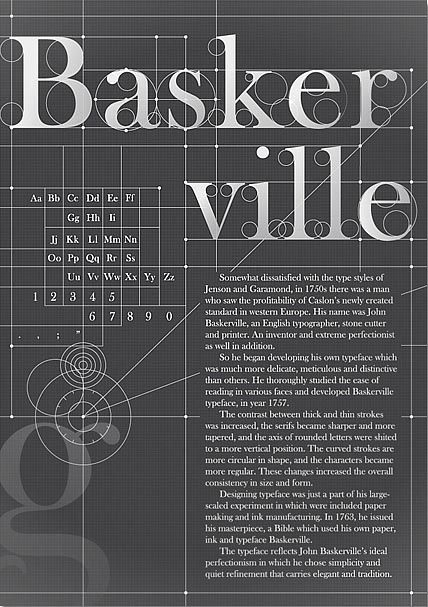 Baskerville - The perfection of a Font A typographic poster by by KOYOOX that shows the perfectionism of the Baskerville typeface.
