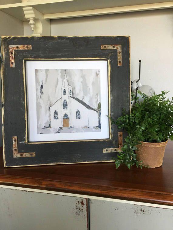 Fine Art Print, Church Print, Modern Farmhouse Style Decor, Distressed Frame, Reckless Faith Art