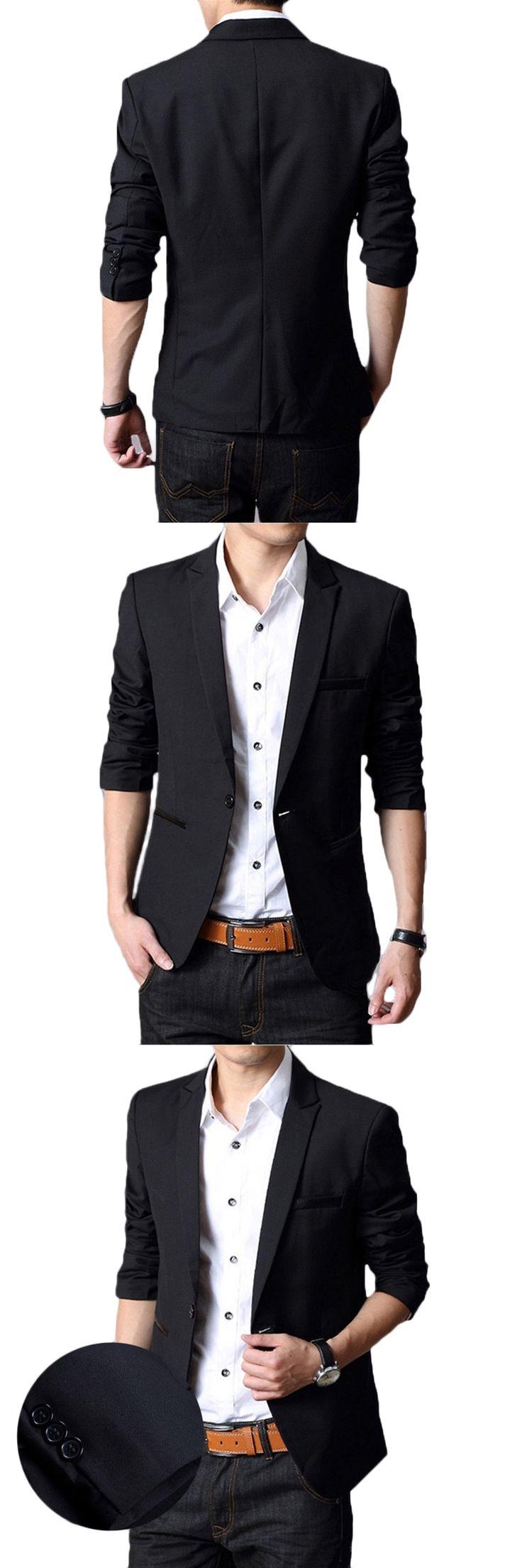 New Solid Color Blazer Men Brand Casual Slim Fit Long Sleeve Blazer Homme Single Button Cotton Autumn 2017 Mens Blazers 5XL