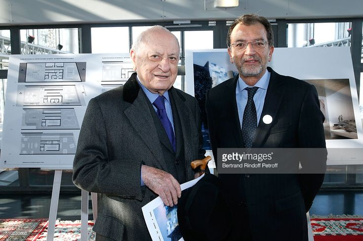 Pierre Berge and Moroccan Minister of Culture Mohammed Amine Sbihi attend King Mohammed VI of Morocco and French President Francois Hollande present the project to create a Cultural Center of Morocco in 'Saint-Germain des Pres'. Held at Institut du Monde Arabe on February 17, 2016 in Paris, France.