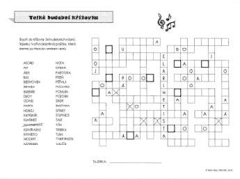 křížovky, testy a osmisměrky, ve kterých děti procvičují základní hudební pojmy
