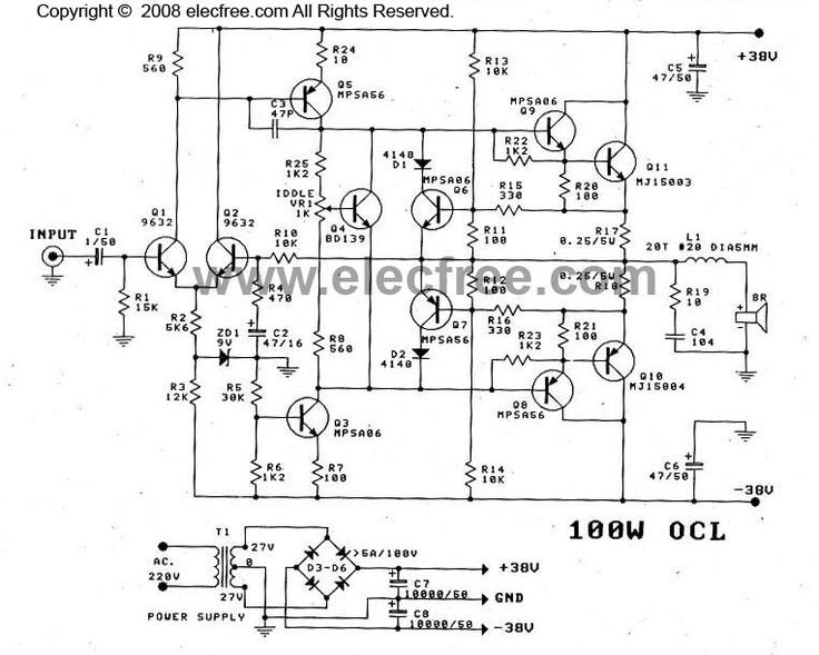 Ocl Power Amplifier Circuit Mj15003 Mj15004 Power