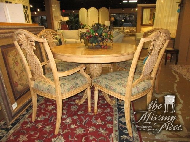Pedestal Base Dining Table In A Light, Pineapple Dining Room Set