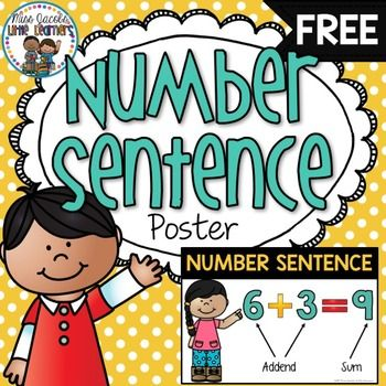 Number Sentence Poster: This FREE number sentence poster has been created as a visual for your students to understand to components of a number sentence.