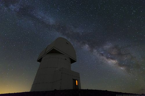 The Milky Way over Aristarchos Telescope at the top of Chelmos Mountain in Achaia, Kalavryta, Greece, at an altitude of 2340m/7677ft.