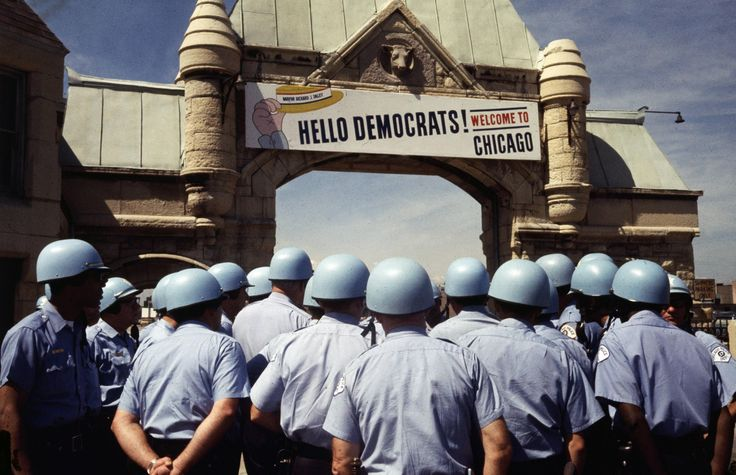 """""""Hello Democrats! Welcome to Chicago"""" 1968, police guarding the Democratic National Convention from nearby protesters"""