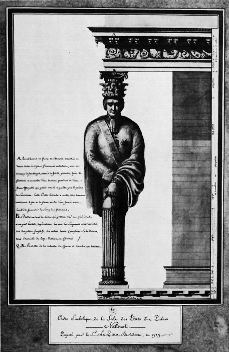 Jean-Jacques Lequeu, Symbolic Order for The Hall of States in a National Palace, 1789