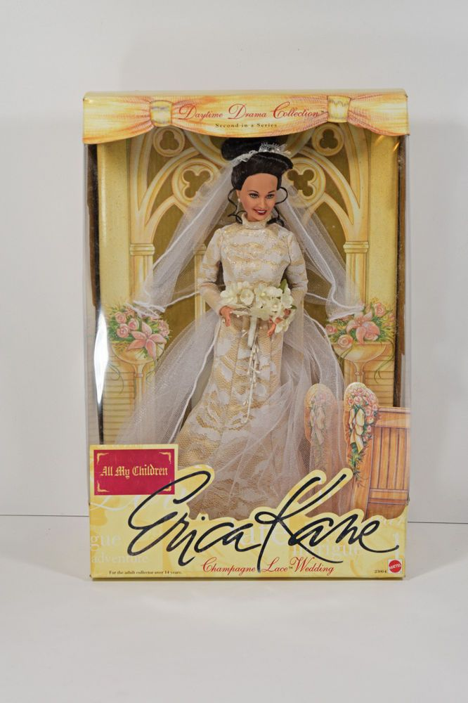 All My Children Erica Kane Champagne Lace Wedding Doll NFRB  Package Has Wear #Mattel #Dolls