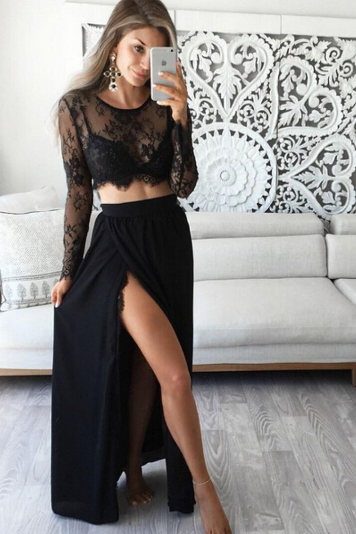 26040355137 Stunning Two Piece Jewel Long Sleeves Black Prom Dress with Lace Top ...
