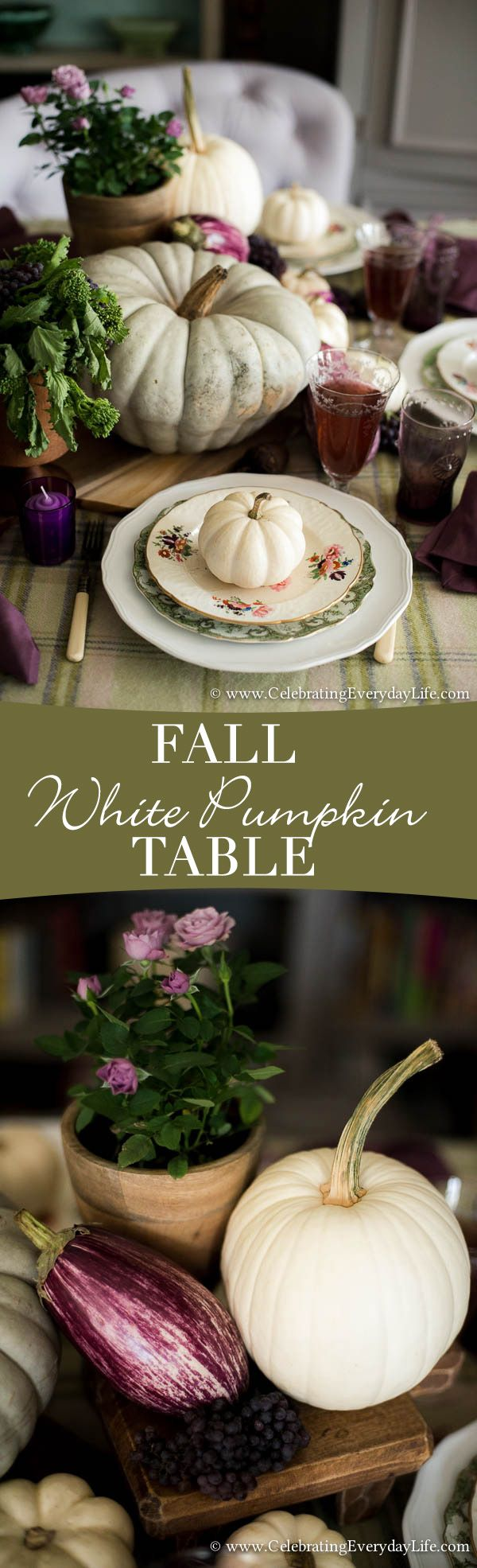 A Fall White Pumpkin Table with touches of green and purple - a creamy alternative for decorating this season!