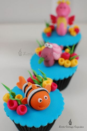Nemo CupcakeSummer Cupcakes, Theme Cupcakes, Nemo Theme, Cups Cake, Nemo Cupcakes, Cottages Cupcakes, Fondant Cupcakes Decor, Little Cottages, Finding Nemo