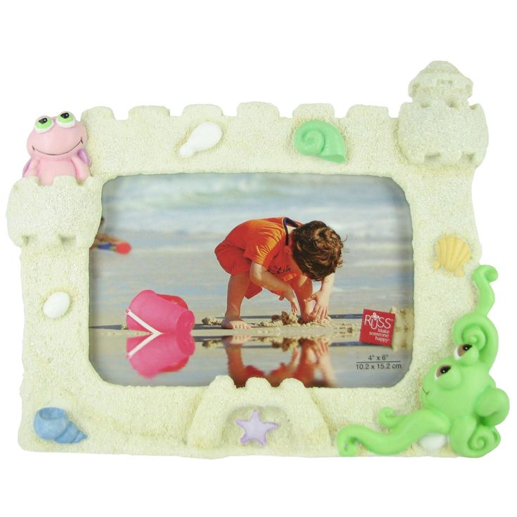 Plush Peepers Beach Picture Frame by Russ Berrie, Brown sand