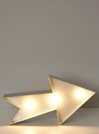 BHS // Illuminate // Arrow Metal Floor/Wall/Table Lamp // industrial style metal star light with exposed bulbs