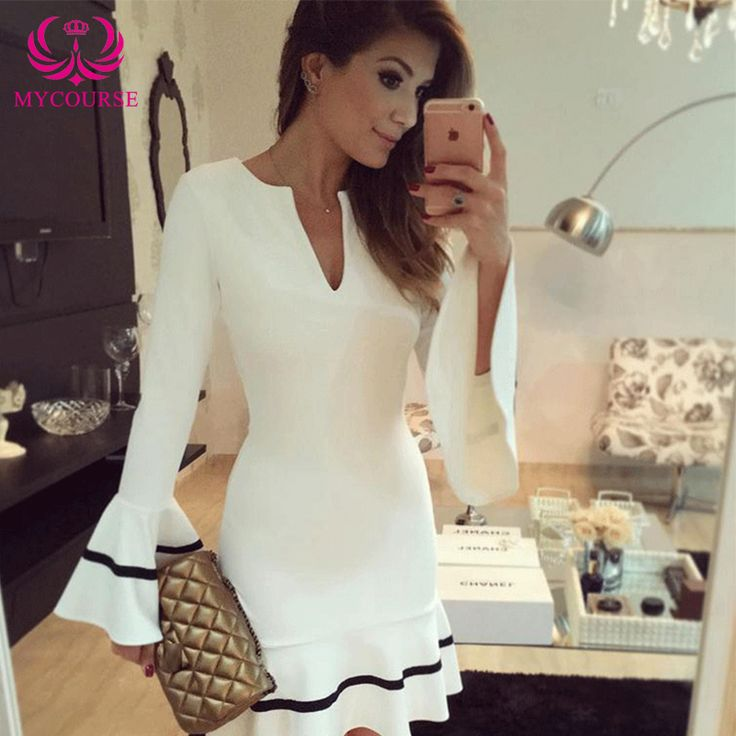 Find More Dresses Information about MYCOURSE Sexy V neck Package Hip Slim Women Ladies Long Sleeve Ruffled Dress,High Quality women sexy dress,China dress fringe Suppliers, Cheap dresses for pear shaped women from MYCOURSE on Aliexpress.com