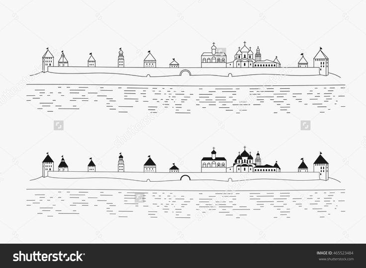 Novgorod Kremlin, Detinets On The Volkhov River In Veliky Novgorod, Russia Стоковая векторная иллюстрация 465523484 : Shutterstock