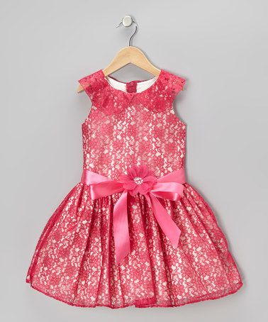 Love this Fuchsia & White Lace Dress - Toddler & Girls on #zulily! #zulilyfinds
