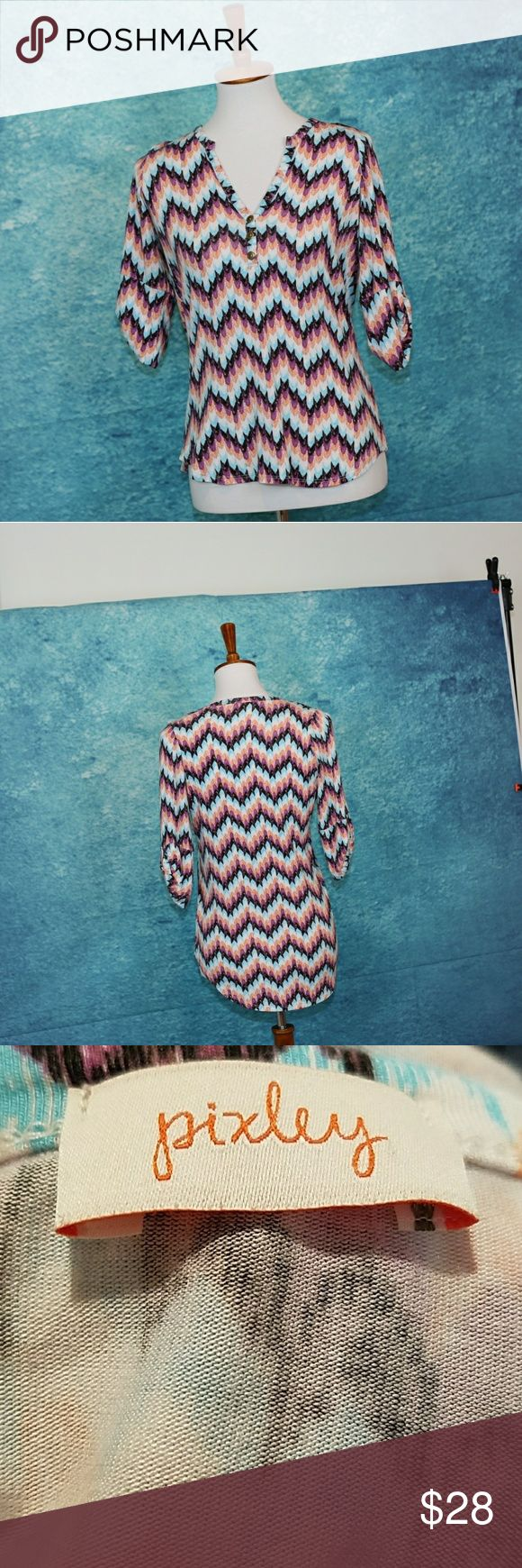 Stitch Fix Pixley chevron blouse. Brass buttons. S Stitch Fix Pixley chevron blouse. Brass buttons, adjustable button sleeves, soft fabric. Orange, black, white, blue, purple. S. Excellent condition. Pixley Tops Blouses