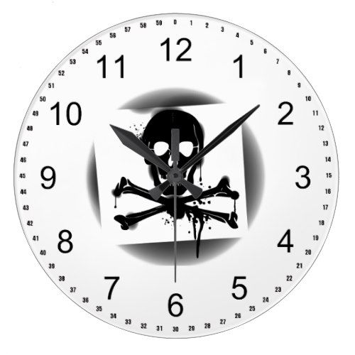 Pirate Flag Skull and Crossbones Jolly Roger Large Clock - diy cyo customize create your own personalize