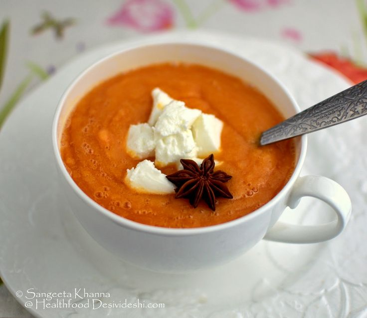 papaya and orange soup with feta cheese and hint of star anise