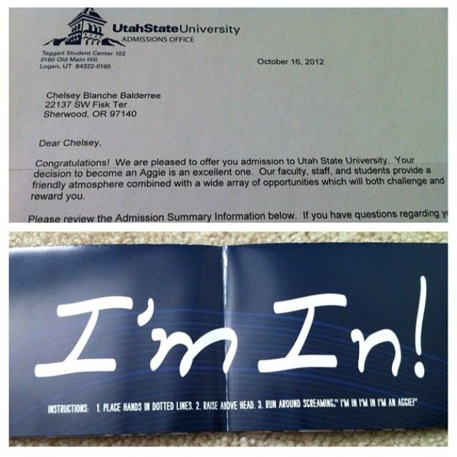 A year ago today I got my USU acceptance letter in the mail I am - college acceptance letters