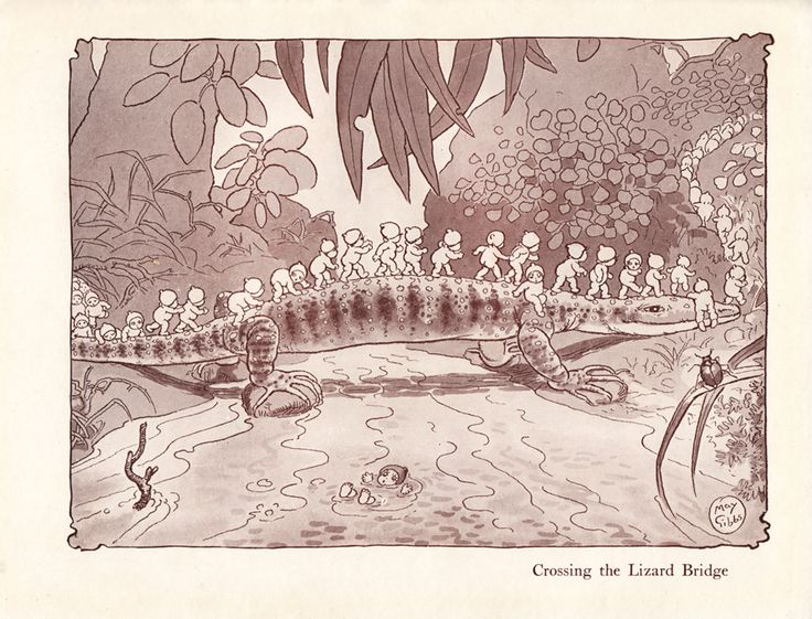 Little Obelia and Further Adventures of Ragged Blossom, Snugglepot and Cuddlepie , Crossing the Lizard Bridge