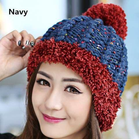 Knit beanie hats for women Hairball winter hat