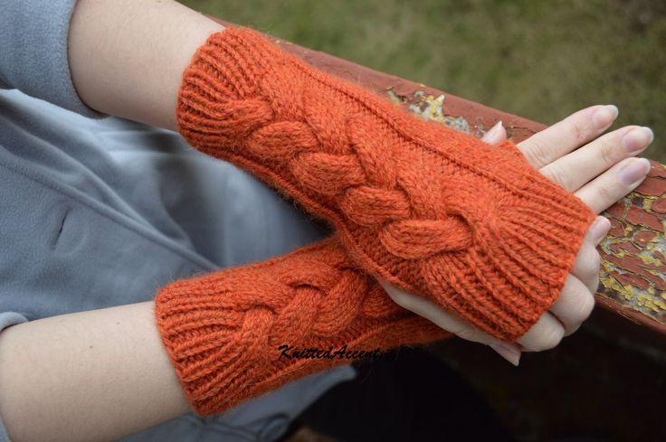 Orange Gloves Winter Gloves Gloves Hand knit Warmers Knit Winter Gloves Gloves Handmade Wool Gloves Knitted Gloves (30.00 USD) by KnittedAccent