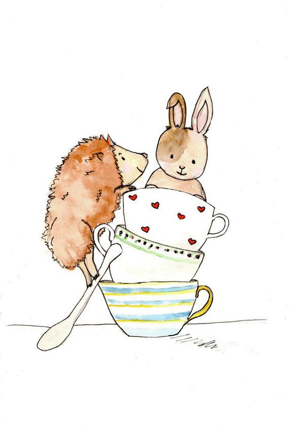 Children's Nursery Art Print  A4 Hedgehog & by NatashaPerkinsArt, $10.00