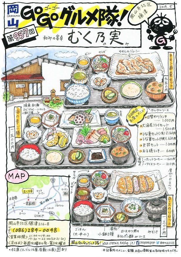 岡山 Go Go グルメ隊 食品の描画 ランチ イラスト 料理イラスト