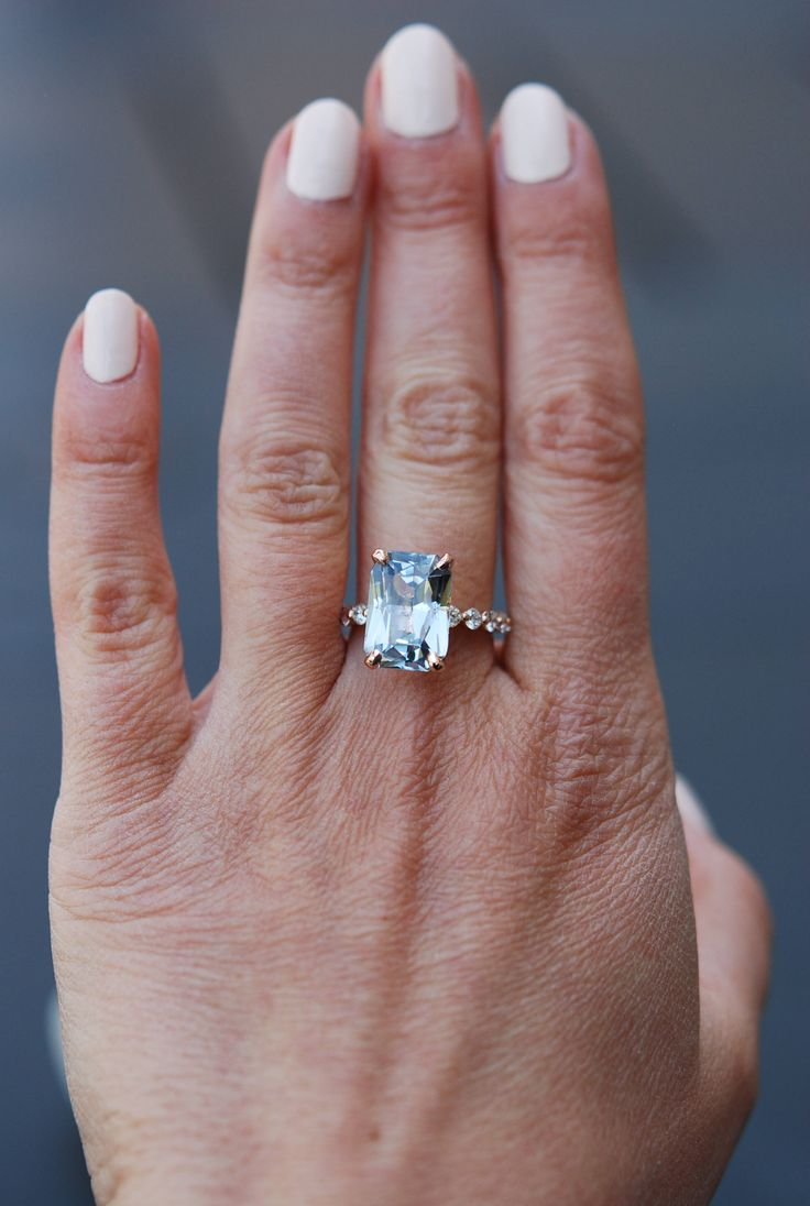 Gia Certified 72ct Blake Lively Ring Rose Gold Engagement Ring Blue  Sapphire Engagement Ring One Of A Kind Ring Sapphire Emerald Cut Ring