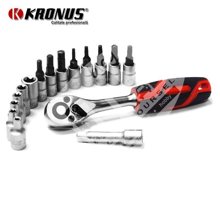 "Trusa capete chei tubulare si accesorii 1/4"" - 17 piese Kronus art. 7205PC (616275)"